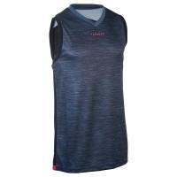 Baju basket dewasa intermediate basketball tank top grey black