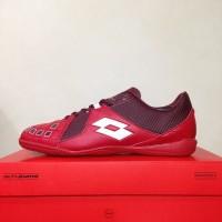 Sepatu Futsal Lotto Squadra Dark Red White L01040011 Original