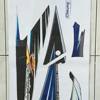 lis body/striping honda supra x 125 d 2005 biru putih asli ori HGP