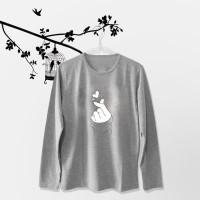 Tumblr Tee / T-Shirt / Kaos Wanita Lengan Panjang Sarang Warna Abu