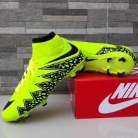Sepatu Sepak Bola Nike Soccer Hypervenom High Hijau Hitam Import