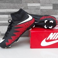 Sepatu Sepak Bola Nike Soccer Hypervenom High Hitam Merah Import