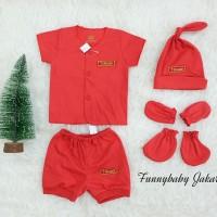 set baju bayi merah newborn / set baju bayi 1 bulan / baju bayi merah