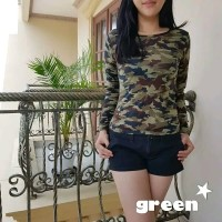 Kaos Army Wanita/Kaos Loreng Wanita/Baju Armi Tentara Wanita Kualitas - Hijau, M
