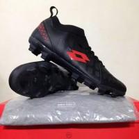 New Sepatu Bola Lotto Energia FG Black Solar Red L01010009 Original