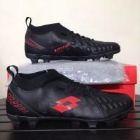Baru Sepatu Bola Lotto Energia FG Black Solar Red L01010009 Original