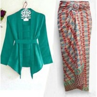 5977 kebaya hijau tosca set baju pesta wanita rok lilit elegant 5978