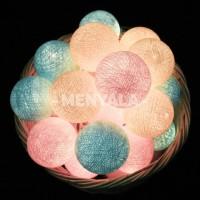 Cotton Ball Light LED / Lampu Gantung - Aqua Pink / COLOKAN