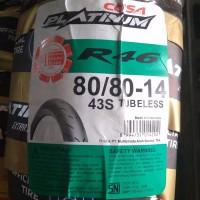 80/80-14 R 46 tubeless, Ban motor matic Merk Corsa, soft compoun