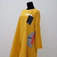Baju Gamis Tunik Kuning Premium Kualitas Export Tanah Abang