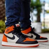 Sepatu Nike Air jordan 1 Retro Black white orange - Premium quality
