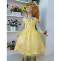 Baju Anak Dress Kostum Princess Belle Motif Kuning Emas