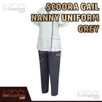 Scoora Gail Nanny Uniform Grey Baju Seragam Suster Perawat Abu Tua