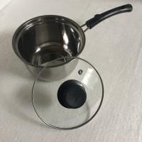 Panci susu kecil milk pot 16cm tutup kaca stainless steel murah