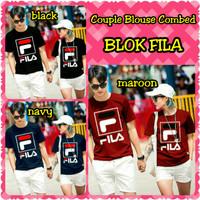 Baju Pasangan Lengan Panjang Couple Blouse Combed Blok Fila