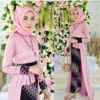 Baju Busana Muslim Setelan Batik Remaja Modern St Batik Parang Pink