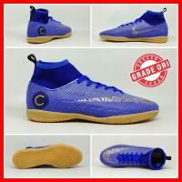 Sepatu Futsal Anak Nike Mercurial CR7 Biru Putih Boot Kids