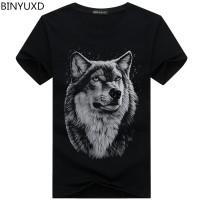 Binyuxd Merek Musim Panas Ukuran Besar 3D Serigala Kepala T-shirt Pria
