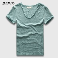 Zecmos Merek Pria T-Shirt Polos Hip Hop Fashion Kasual XXXL V leher T
