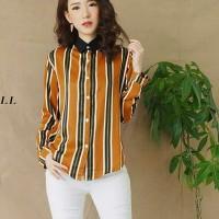 SALE Festive Stripe Shirt Atasan Wanita Kemeja garis