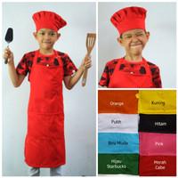 Apron Celemek Full dan Topi Chef atau Koki Jamur Bolong Khusus Anak