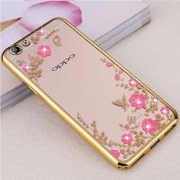 CASING OPPO A71/F5/R9S/F1 PLUS/F1S/F3 A77 SILICON FLOWER SOFT CASE - ROSE GOLD