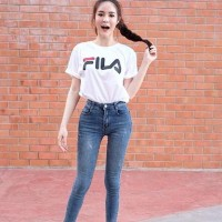 Baju Atasan Wanita-Kaos Fila Warna Putih Hitam Cewek-Best Seller