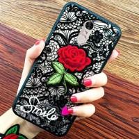 Case Xiaomi Redmi 5 PLUS 3D Cover Flower Bordir Rose/Bunga Mawar Merah