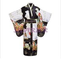 Baju Pakaian Wanita Perempuan Jepang Kimono Yukata Bantal Obi Hitam