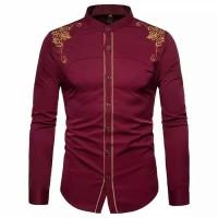 Baju Kemeja Koko Bastile Maron Bordir Batik Imlek Motif Cina Pria
