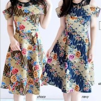 Dress BATIK Sabrina Baju Pakaian Remaja Putri Cewe Navy Cream Marun