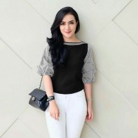 ij Fenita Stripe blouse atasan top pakaian wanita baju