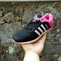 sepatu sneakers casual adidas neo hitam pink cewek women wanita 36-40
