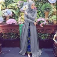 Baju Busana Gamis Pesta / Dress Brukat Prancis Devita Set Batik Abu