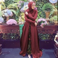 Baju Busana Gamis Pesta / Dress Brukat Prancis Devita Set Batik Marun