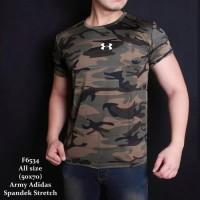 Baju Kaos Pria Army Loreng Hijau Training Sport Gym Fitness