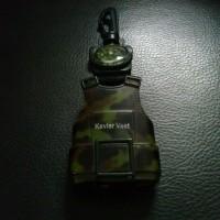 Lighter Army Vest mini compass kompas survival carabiner fire starter