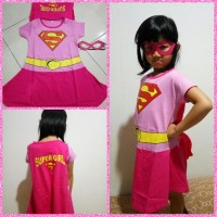 Dress Baju Kostum Anak Cewek Supergirl Pink Superhero Halloween