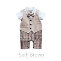 SETH BROWN - Romper resmi anak bayi cowo . baju pesta. tuxedo bayi