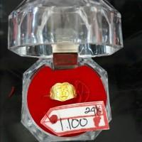 DLM01TCKDLM CINCIN EMAS 24K GOLD TULISAN HAPPINESS CHINESE ASLI MEWAH