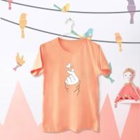 Tumblr Tee / T-Shirt / Kaos Wanita Lengan Pendek Sarang Warna Peach