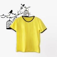 Ringer Tee / T-Shirt / Kaos Wanita Lengan Pendek Polos Warna Kuning