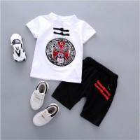 Setelan Baju anak laki-laki motif seni china warna putih