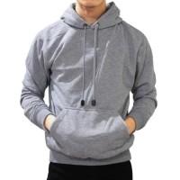 Jaket Polos Pria Cowok Hoodie Jumper Sweater Grey Misty Abu terang - Abu-abu Muda, M