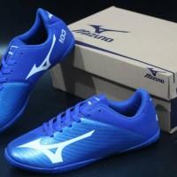 sepatu futsal mizuno 103 biru list putih