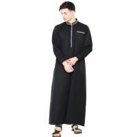 busana muslim pria JV7 gamis hitam pria - baju koko cowok branded
