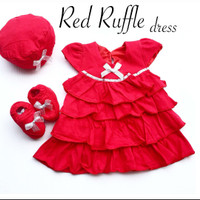 baju fashion dress merah set sepatu topi satu bulanan bayi perempuan