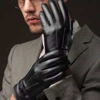 sarung tangan winter touch screen import pria / waterproof semi kulit