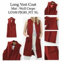 Long Vest Basic BIG SIZE XL 7 Warna- Cardi Crepe Outer Coat Wanita XL