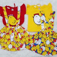 Baju Overall Kodok Dress Anak Bayi Perempuan Ayam